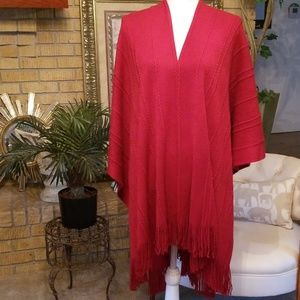Cejon Red Cable Poncho Wrap